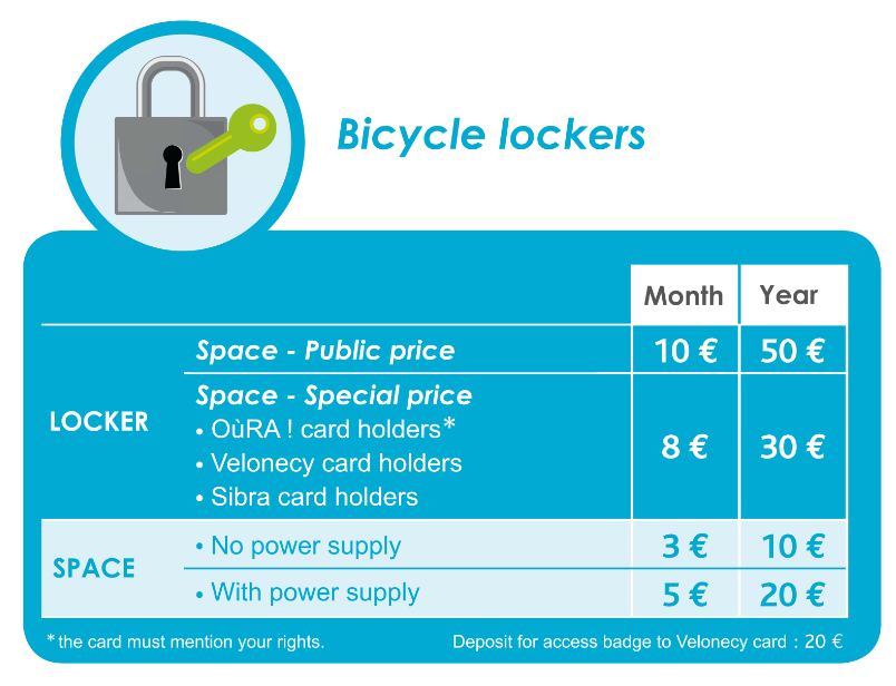 Bicycle lockers tariff